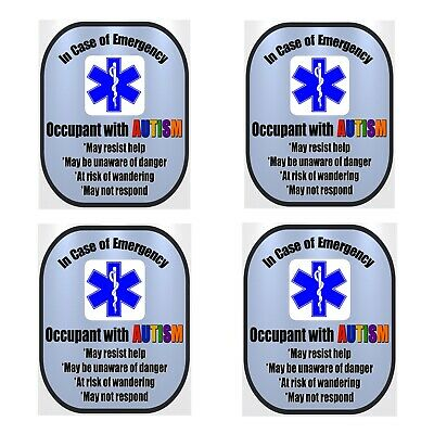 4 Pack Autism Medical Alert Safety Window Decals