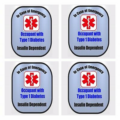 4 Pack Type 1 Diabetic Medical Alert T1D Safety Window Decals
