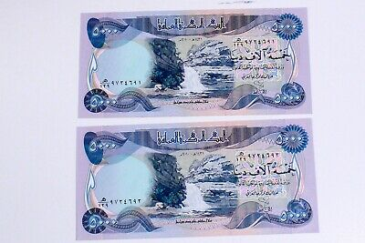 Lot of 2 X 5,000 Dinar Notes Total 10000 100% Authentic Crisp Unicrculated
