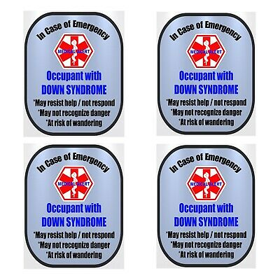 4 Pack Down Syndrome Medical Alert Safety Window Decals