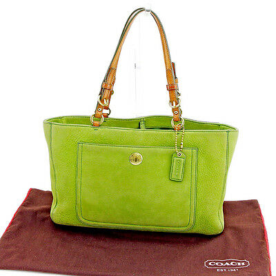 25c081c125a6 Coach Tote bag Green Brown Woman Authentic Used T2624