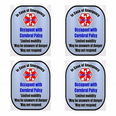 4 Pack Cerebral Palsy Medical Alert Safety Window Decals