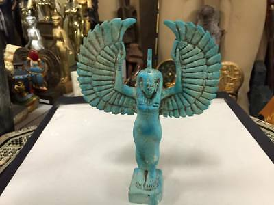 Vintage Egyptian Goddess Isis Statue Hand Carved Natural Stone Made In Egypt