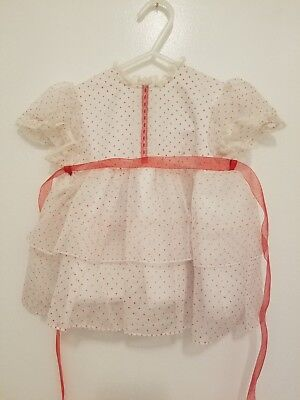 Vintage Infant 50's Sheer White Swiss Dot Red Valentine Child Girl Doll Dress