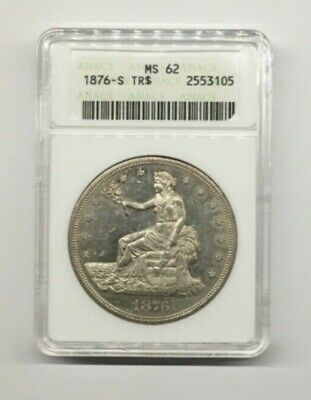 1876S silver trade dollar ANACS MS62