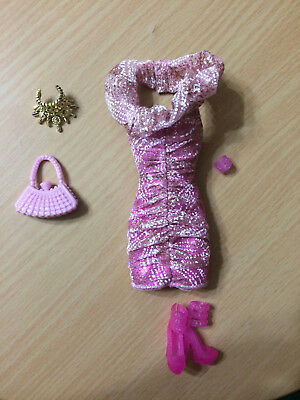 Fashionista Glam Barbie Swappin' Style Doll Outfit Dress Shoes Accessory Purse