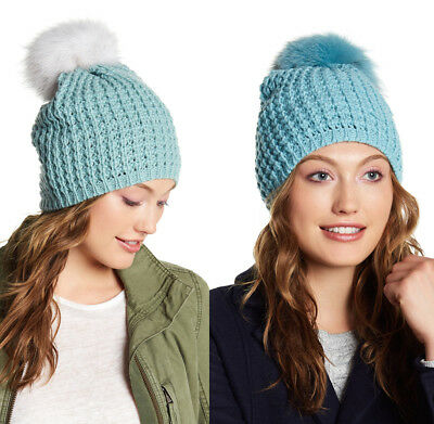 f5412c12270 KYI KYI Canada Classic Wool Blend BEANIE FOX FUR Pom Pom Seafoam or  Blue White