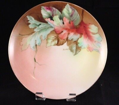 Richard Ginori Italy Hand Painted Cabinet Plate Autumn Leaves Signed by Artist