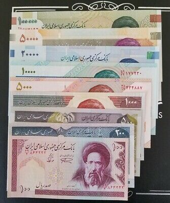 IR Central Bank Rial one complete Set 100,200,500,1000........100,000 Banknotes