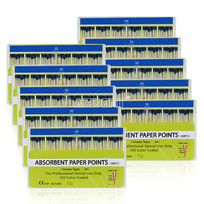 100 Kits Dental Absorbent Paper Points 30# 0.06 Taper Root Canal Endodontic GG