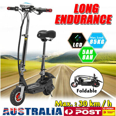 AU 300W 8Ah Adult Electric Scooter Portable Foldable LED Commuter Bike w/ Seat