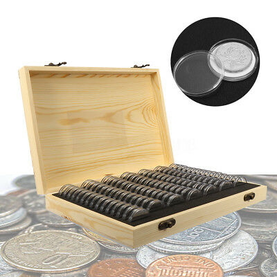 AU 100X Coin Capsule Holder Wooden Container Storage Box Display Case