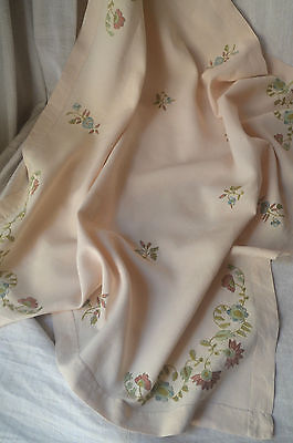 Pure linen silk embroidered table cloth, 8 napkins, 2 tray cloths, unused