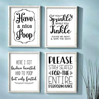 Funny Bathroom Wall Art Prints Farmhouse Decor Quotes Signs Pictures