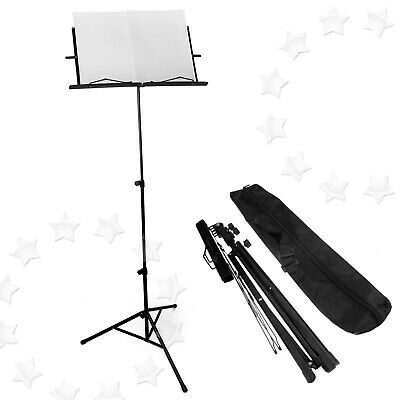 Black Height Adjustable Metal Sheet Music Stand With Carry Bag