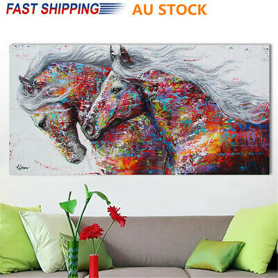 75*150cm Colourful Running Horse Canvas Print Painting Xmas Wall Home Decor Art