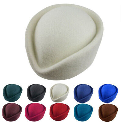 New Elegant 100% Wool Felt Pillbox Stewardess Air Hostesses Beret Hat Party Base
