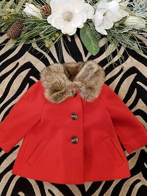 baby girl coat jacket jumper red faux fur 0-3 months baby gift