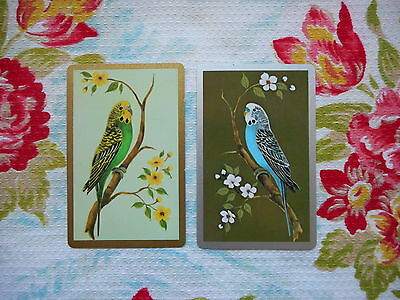 Swap/two/pair of vintage/kitsch game/playing cards - budgie/birds, green & blue