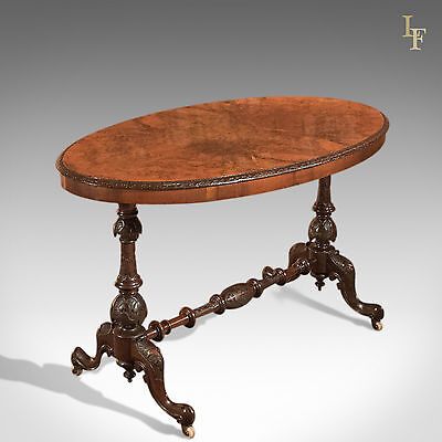 Antique Side Table, Victorian Burr Walnut, English, Carved Occasional Side c1870