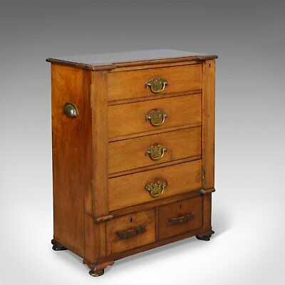 Small, Antique, Wellington Chest, Oak, Fruitwood, Campaign, Specimen c.1890