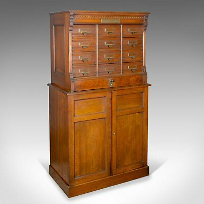 Large Antique Filing Cabinet, English, Edwardian, Walnut, Shannon File Co. c1910