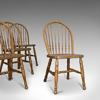 Set of Four Dining Chairs, French Windsor Hoop Stick-Back, Beech 20th Century