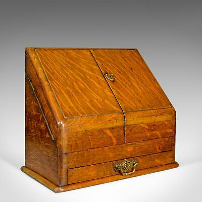 Antique Stationery Cabinet, English, Victorian, Oak, Correspondence Chest c.1900