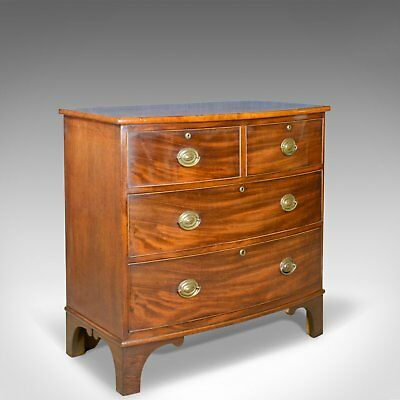 Antique Bow Front Chest of Drawers, English, Georgian, Mahogany, Circa 1790