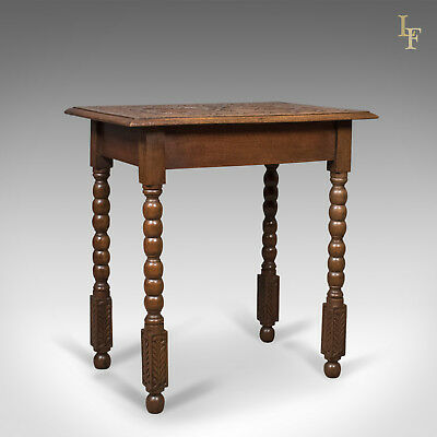 Antique Side Table with Carved Decoration, English Oak, 1908