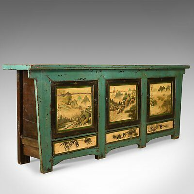 Vintage Sideboard, Chinese Painted Buffet, 19th Century Revival, Mid/Late C20th