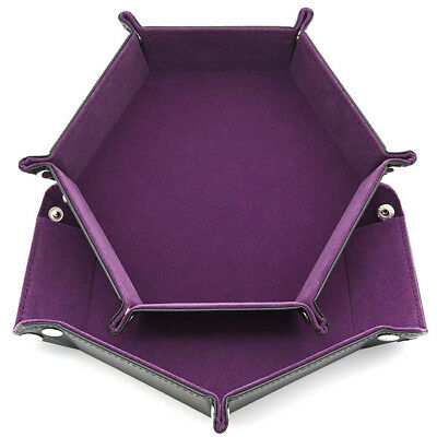 Purple Dice Tray Hexagon PU Leather Collapsible Rolling Tray Dice Games Board SH