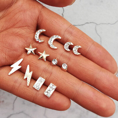 Lot of 6 Pairs of Fashion Post Earrings Alloy Tone Faux Diamond Crystal Moon SH