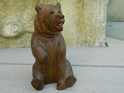 Ours Assis Bois Sculpte Foret Noire Black Forest 13 Cm Berne ? Bear Wood Carved