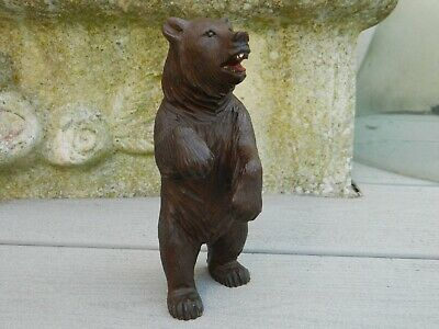 Ours Debout Bois Sculpte Foret Noire Black Forest 17 Cm Bear Wood Carved