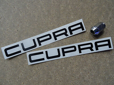 "2 x CUPRA Cut Text Side Skirt /Front Decals Stickers (200mm 8"") Fits Seat Ibiza"