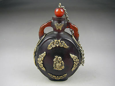 Rare Chinese Ancient   amber Silver inlay Snuff Bottle