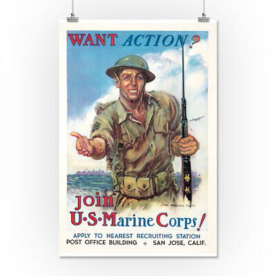 Join the Marine Corps (Flagg) - Vintage Poster (16x24 Giclee Print)