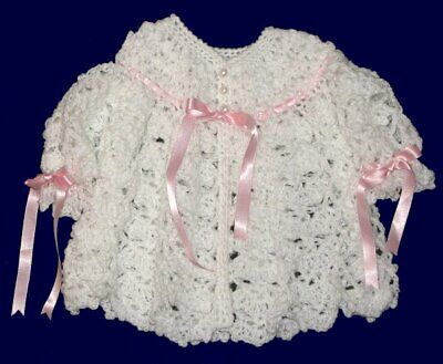 Beautiful Hand-crocheted Baby Set  **Jacket+Hat+Booties**White/Pink Ribbons **