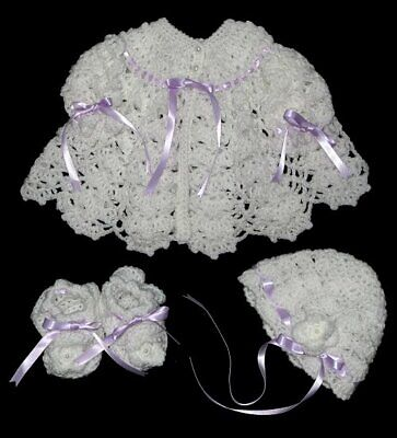 Beautiful Hand-crocheted Baby Set  **Jacket+Hat+Booties**White/Lilac Ribbons **