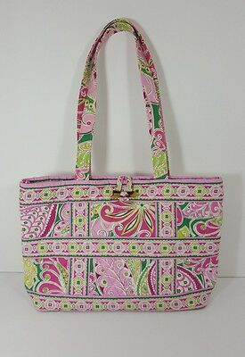 102ff123fb VERA BRADLEY SHOULDER BAG ~ PINK AND GREEN ~ Paisley Floral Toggle Closure