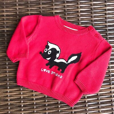 Gymboree Love Stinks Skunk Sweater 6-12 mo NEW NWT Valentines Day  So cute!