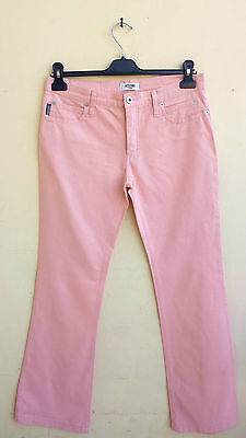 jeans pantalone trousers donna VINTAGE MOSCHINO rosa PINK 32 46 BOOT CUT barbie