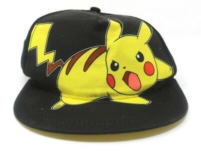 78905a55897 Pokemon Pikachu Youth Boys Hat Cap Snap Back Black Yellow Adjustable  Nintendo