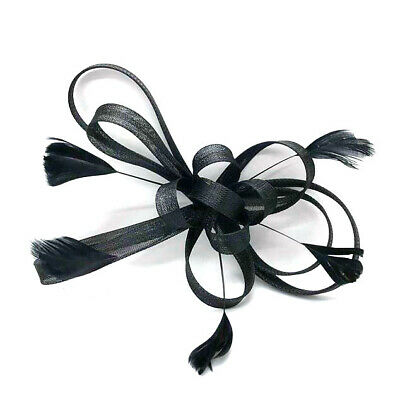 Black Feather Comb Fascinator Ladies Day Races Wedding Funeral 18