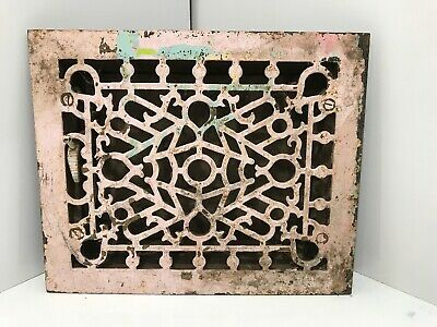 "Antique Cast Iron Heating Grate Square Design Approx 11 1/2"" X 9 1/2"""