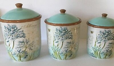 Susan Winget-NEW-HERB BLOSSOMS- Ceramic Set 3 Canisters- 23640-