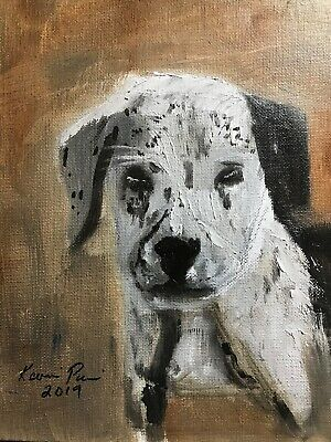 Oil Dog Painting original Art 8x10 Canvas Panel Home Office GIFT  Decoration