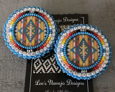 Native American Beaded Round Blue Turquoise Pendleton  Lever Post Earrings