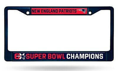 New England Patriots 6X Super Bowl Champions NAVY Metal Frame License Plate Tag